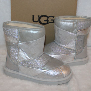 UGG TODDLER PATCHWORK LEATHER BOOTS NEW SILVER
